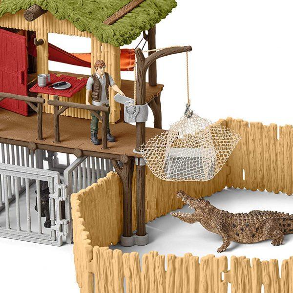 Schleich Wild Life Croco Jungle Stazione di ricerca con RANGER FIGURE E ANIMALI